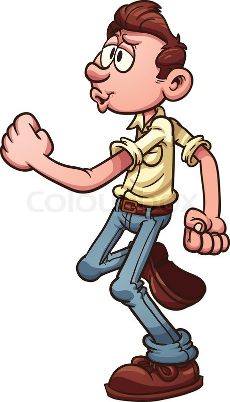cartoon man happily walking and whistling vector clip art