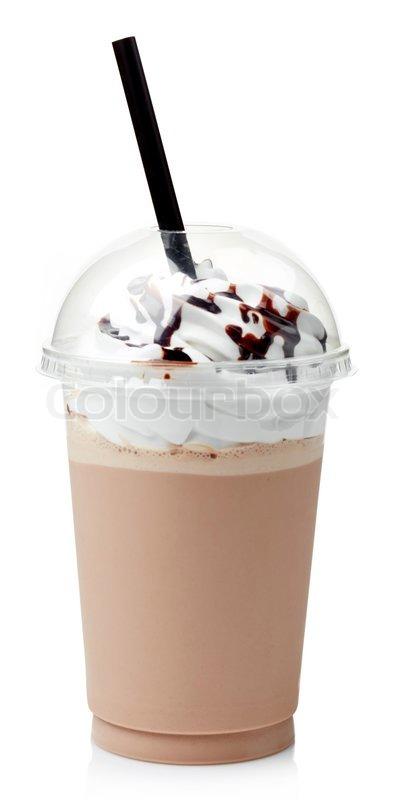 Chocolate Milkshake Covered With Whipped Cream In Plastic
