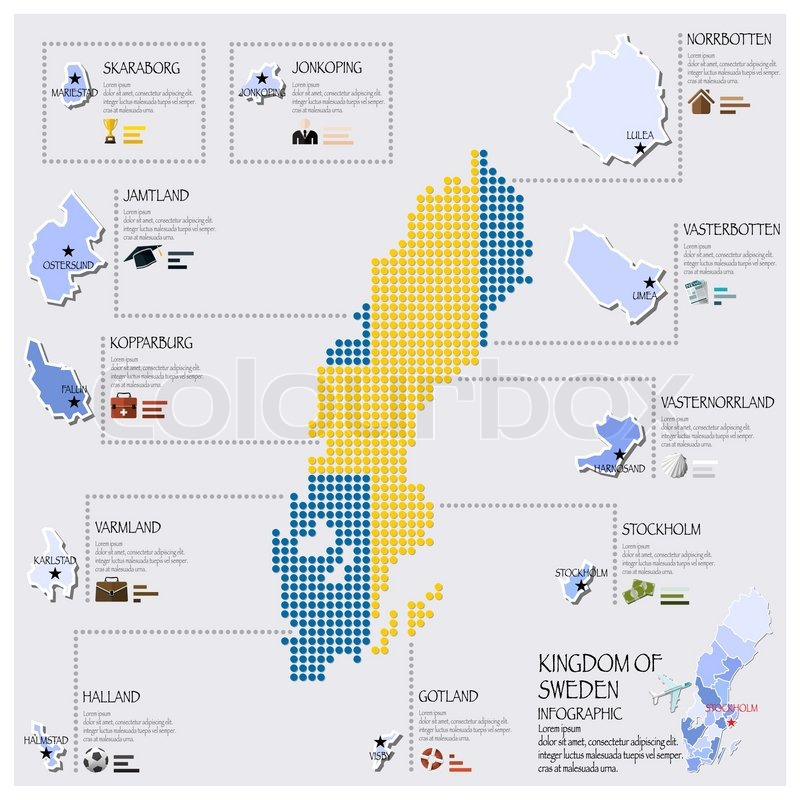 Dot And Flag Map Of Sweden Infographic Design Template Stock - Sweden map flag
