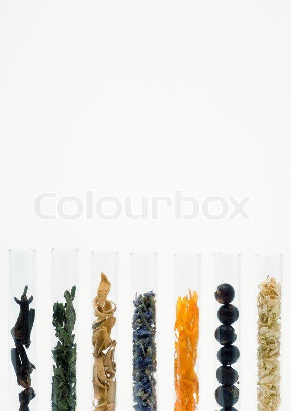 reagenzgl ser mit blumen beeren und gew rzen getrocknet stockfoto colourbox. Black Bedroom Furniture Sets. Home Design Ideas