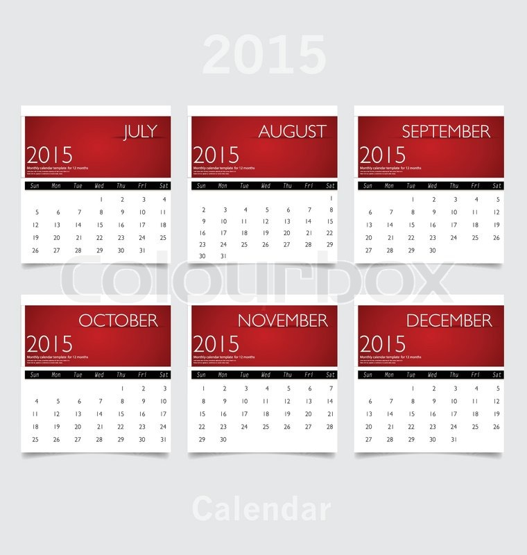 Simple 2015 year calendar (July, August, September, October ...