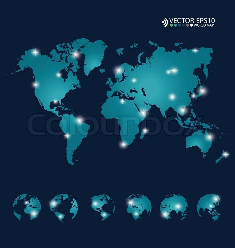 Modern World Map Design Vector Illustration Stock Vector - Modern world map