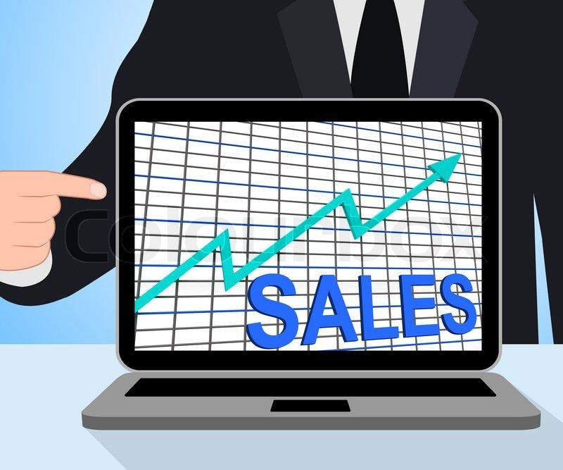 Sales Chart Graph Displaying Increasing Profits Trade, stock photo