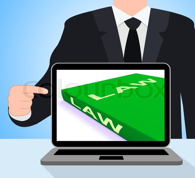 Law Book Laptop Showing Books About     | Stock image