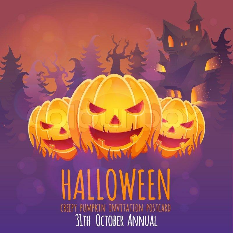 Gruselige Halloween Einladungskarte Mit Kürbis Und Haus, Einladungs