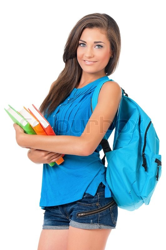 Beautiful student girl with backpack and books, isolated ...