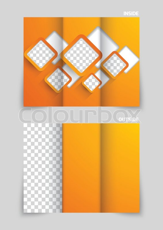 Tri Fold Brochure Template Design With Orange Cut Out Squares