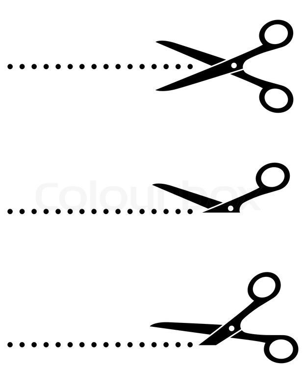black scissors icon set with cut line on white background stock