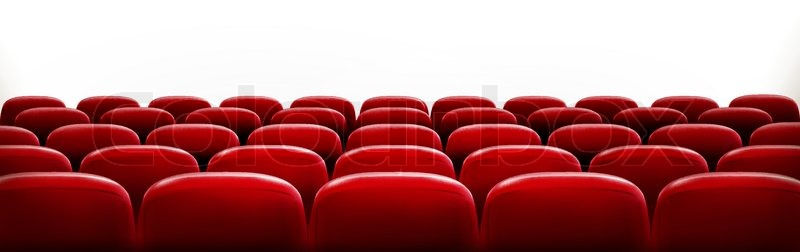 Rows Of Red Cinema Or Theater Seats In Front Of White Blank Screen With  Sample Text Space. Vector, Vector