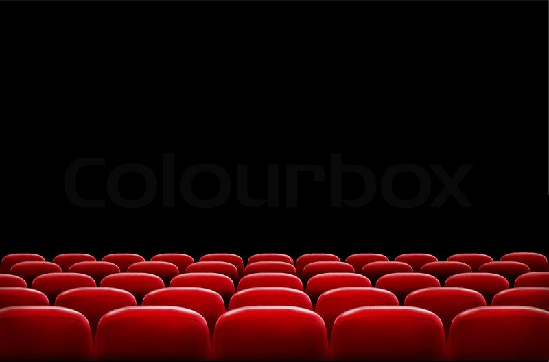 Rows Of Red Cinema Or Theater Seats In Front Of Black Screen With Sample  Text Space. Vector, Vector