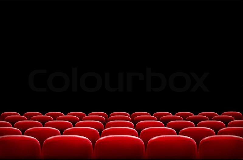 Sitzreihen rote Kino oder Theater vor schwarzer Bildschirm ...