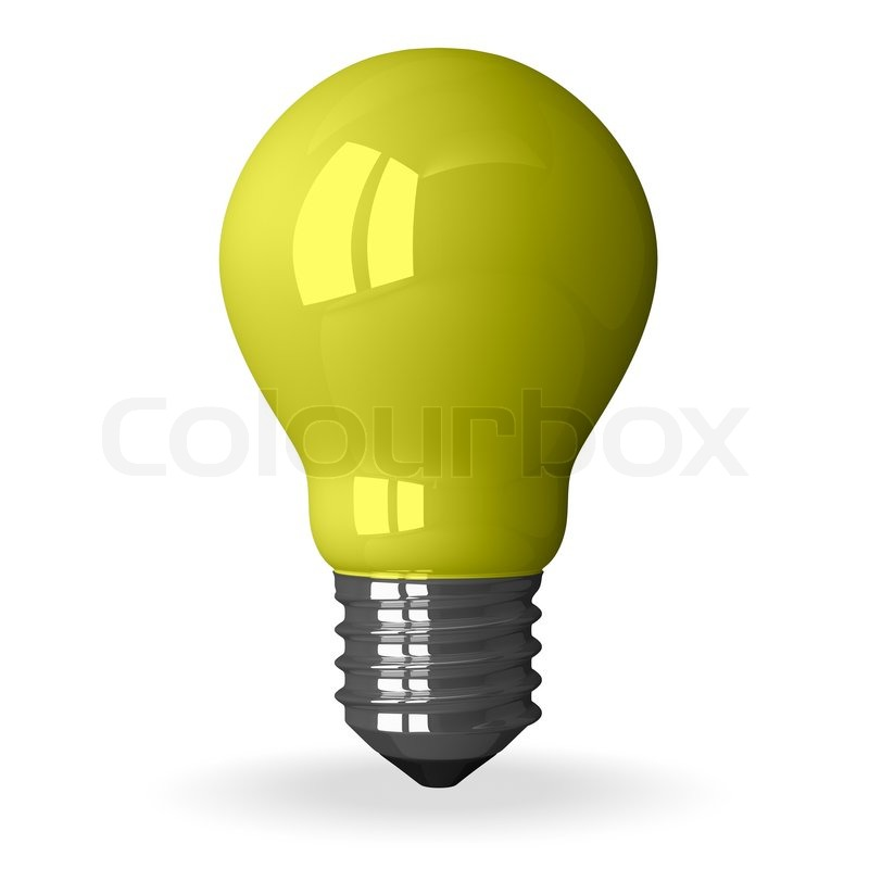 Stock Image Of U0027Yellow Tungsten Light Bulb Standing, 3d Render Isolated On  Whiteu0027