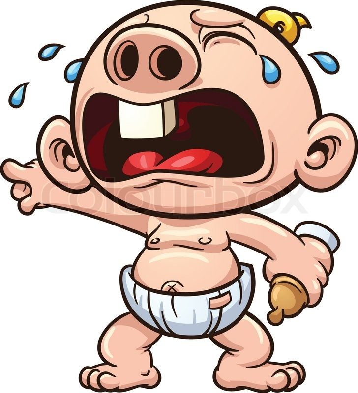 Cartoon baby crying. Vector clip art illustration with ...