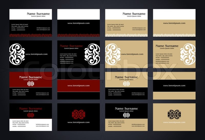 Business cards creative design with logo vintage style set elegant business cards creative design with logo vintage style set elegant print front and back samples black white red and beige colors luxury classic reheart Gallery