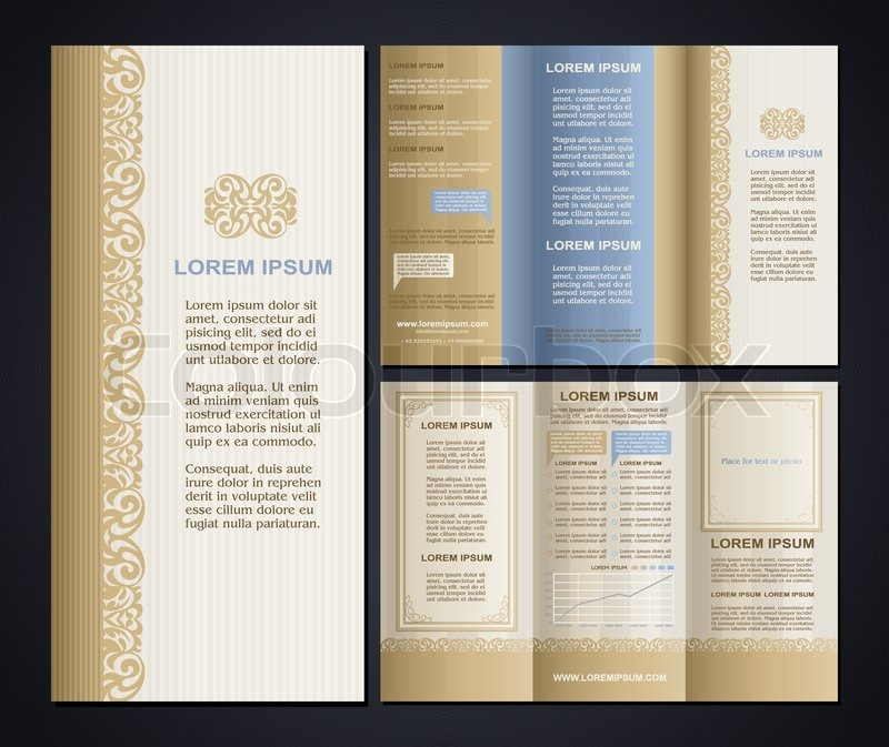 Vintage Style Brochure Design Template With Logo Modern Art