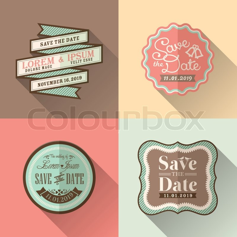 Retro wedding frame flat design icon set for tag label sticker badge stock vector colourbox
