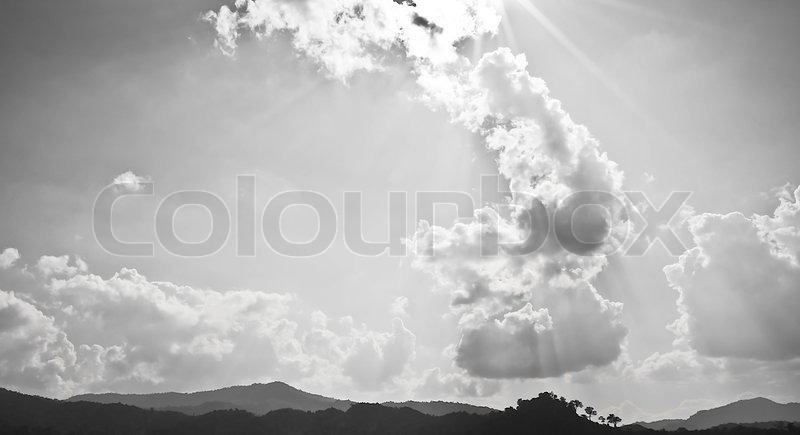 The Cloudy Sky in Black and White, stock photo
