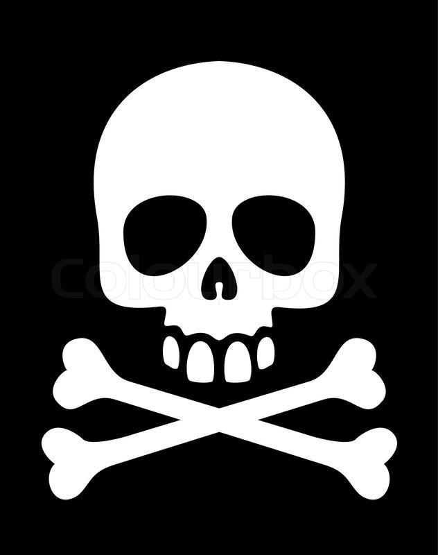 White Skull And Crossbones Symbol On Black Background Eps8 Stock