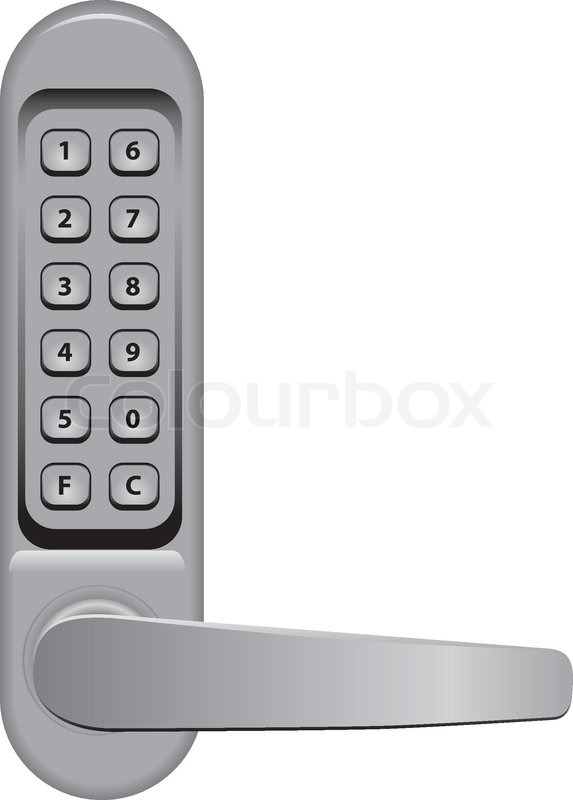 Door handle with combination lock. Vector illustration. | Stock ...