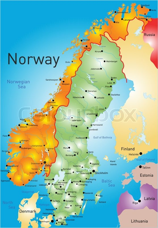 Vector Color Map Of Norway Country Stock Vector Colourbox - Norway map vector countries