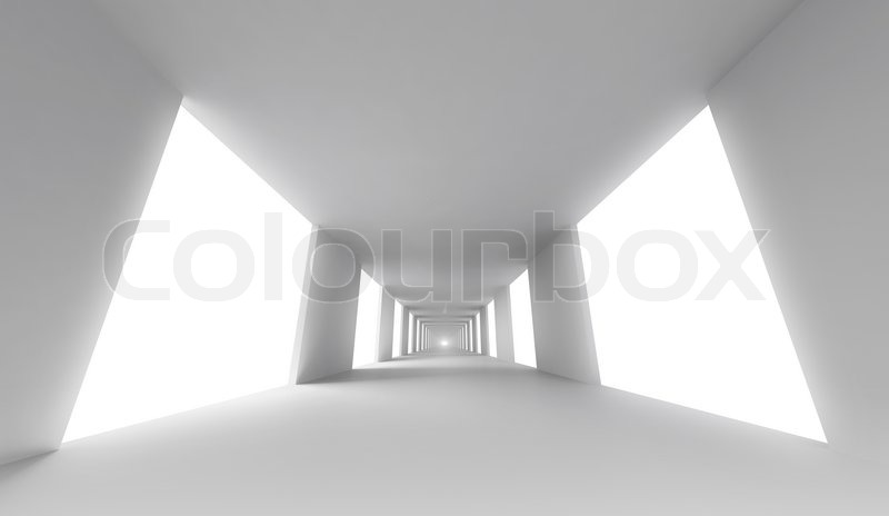 Empty white corridor abstract architecture 3d background for Heller raum