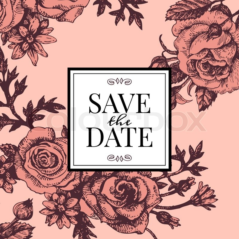 Vintage wedding invitation with rose flowers save the date design vintage wedding invitation with rose flowers save the date design hand drawn sketch vector illustration stock vector colourbox stopboris Images