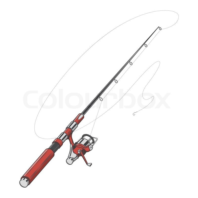 Red fishing rod spinning with bait isolated on a white for Red fishing line