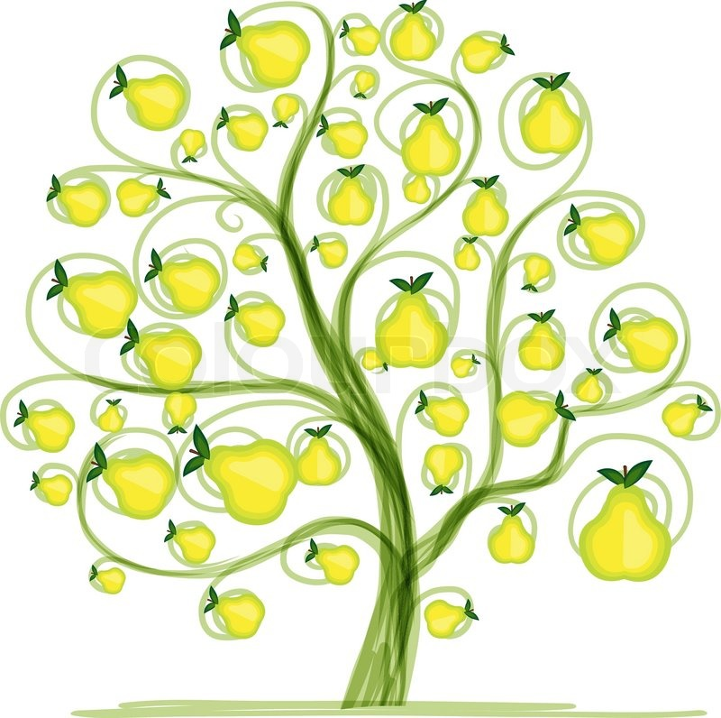 Pear Tree Cartoon Pear Tree For Your Design