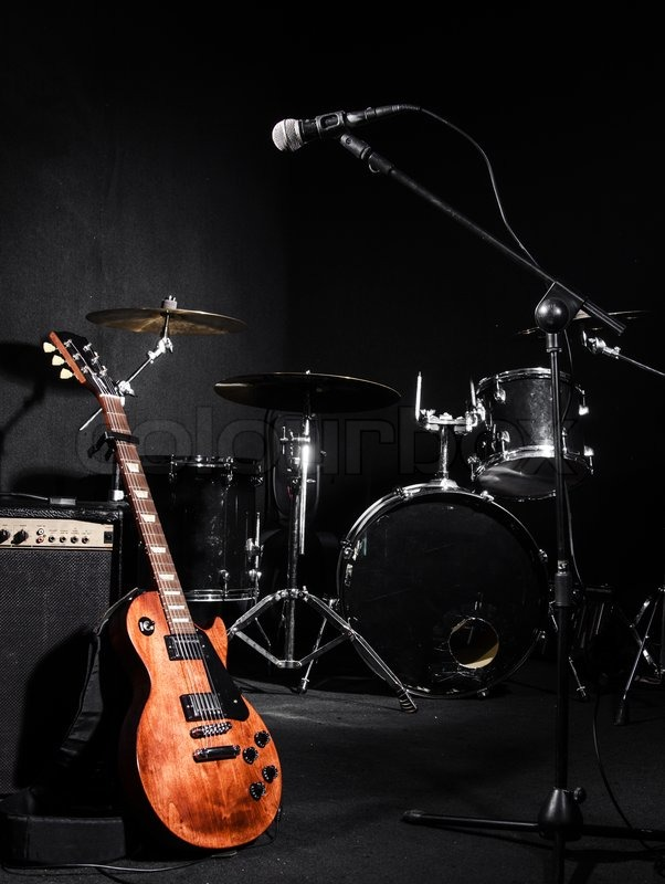 Set of musical instruments during concert, stock photo