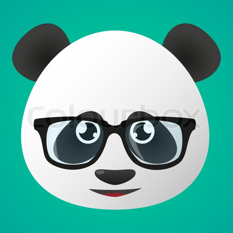 illustration of a panda avatar wearing glasses stock vector