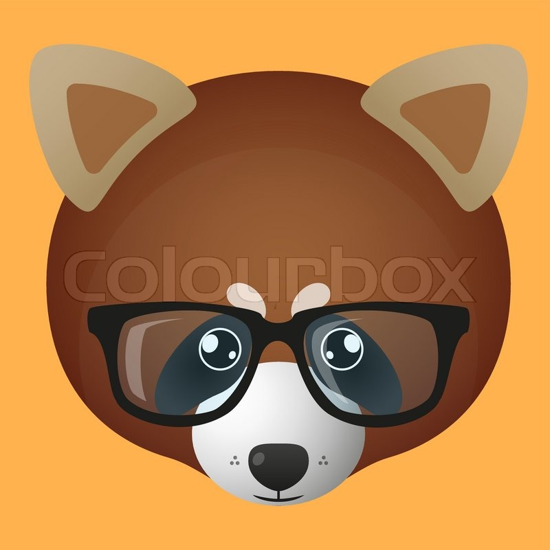 Illustration Of A Red Panda Avatar Wearing Glasses | Stock Vector |  Colourbox