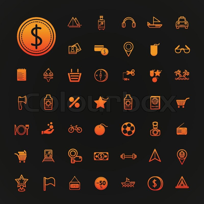 46 icons shopping and Travel set vector , vector