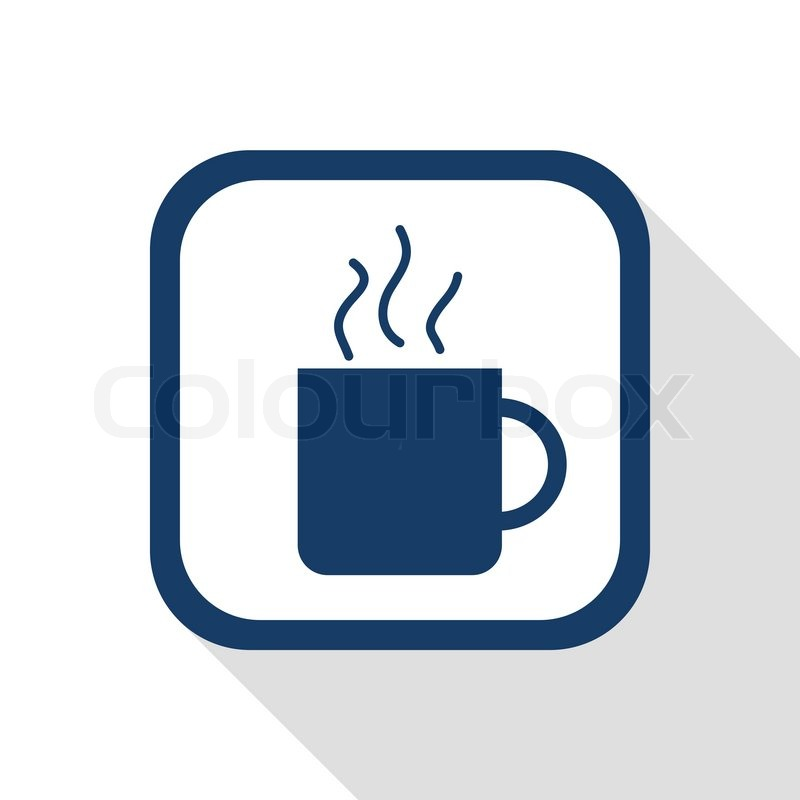 Square Blue Icon With Long Shadow Cup Of Tee Or Coffee Symbol Of