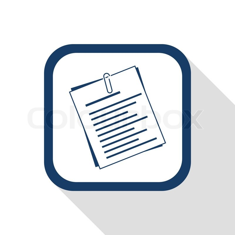 Square Blue Icon Document With Long Shadow Symbol Of Info