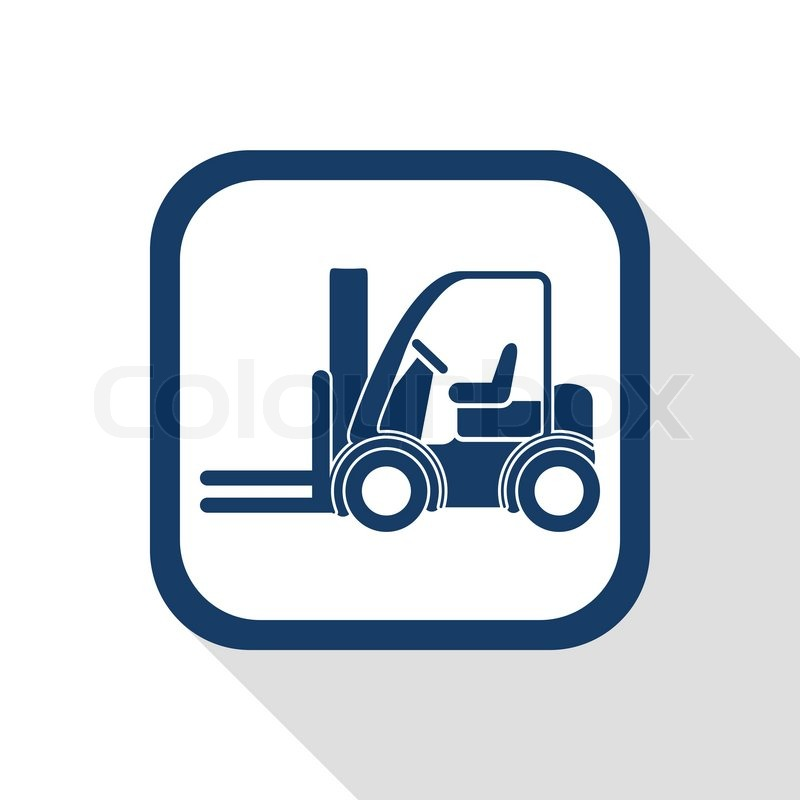 Square Blue Icon Forklift Truck With Long Shadow Symbol Of