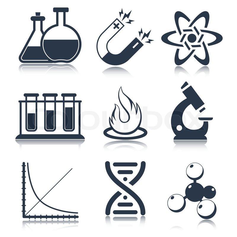 Physics Science Laboratory Equipment Black Education Icons Set