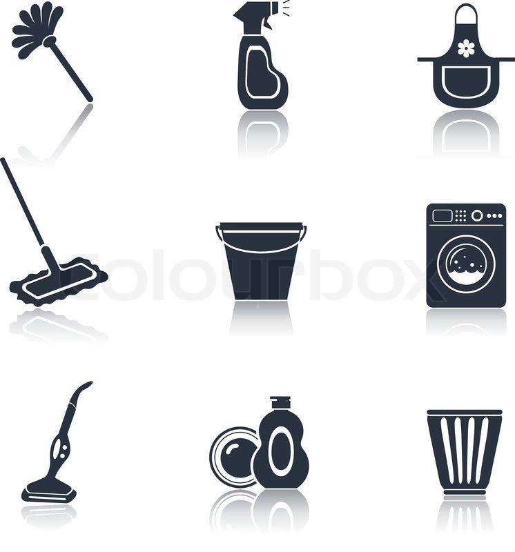 Reinigung Symbol set schwarz | Vektorgrafik | Colourbox