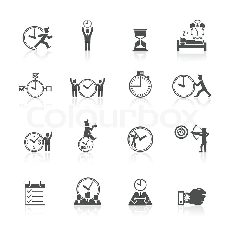 Time Managing Individual And Team Activities Strategies Icons Set