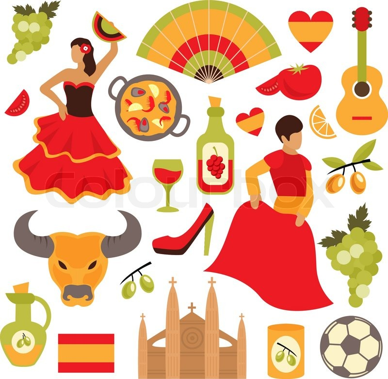 Spain travel tourist attractions icons ... | Stock Vector ...