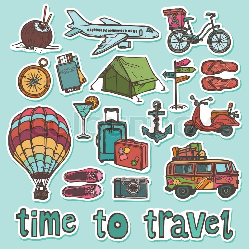Travel Holiday Vacation Sketch Stickers Set Of Passport