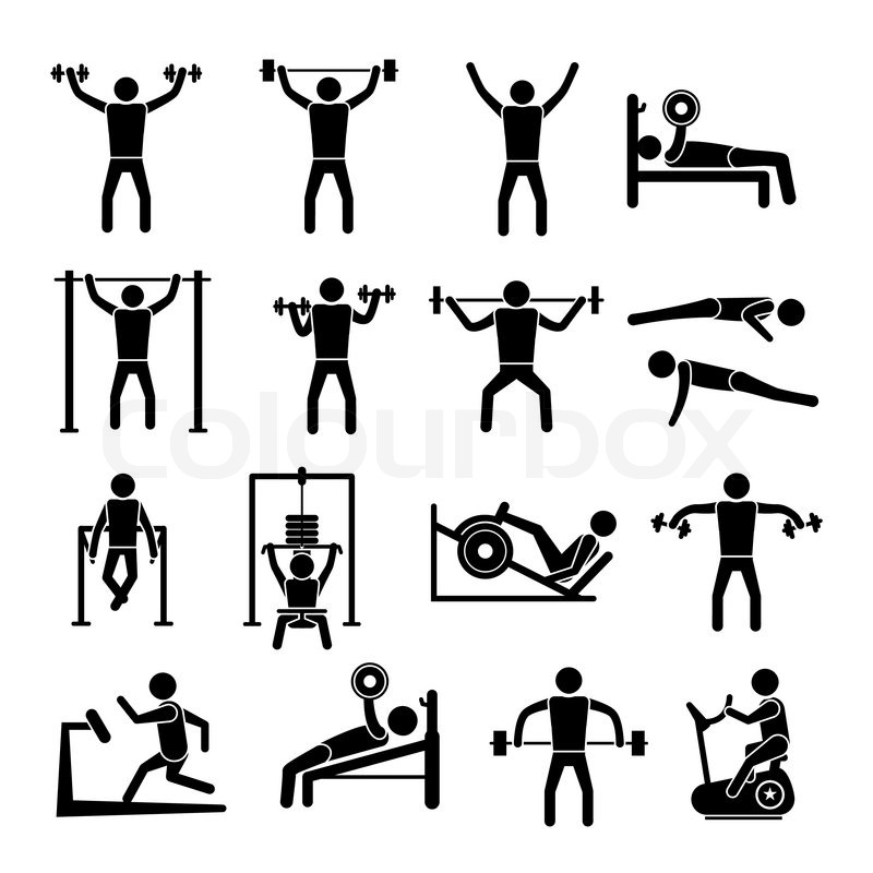 workout sport and fitness gym training icons black set