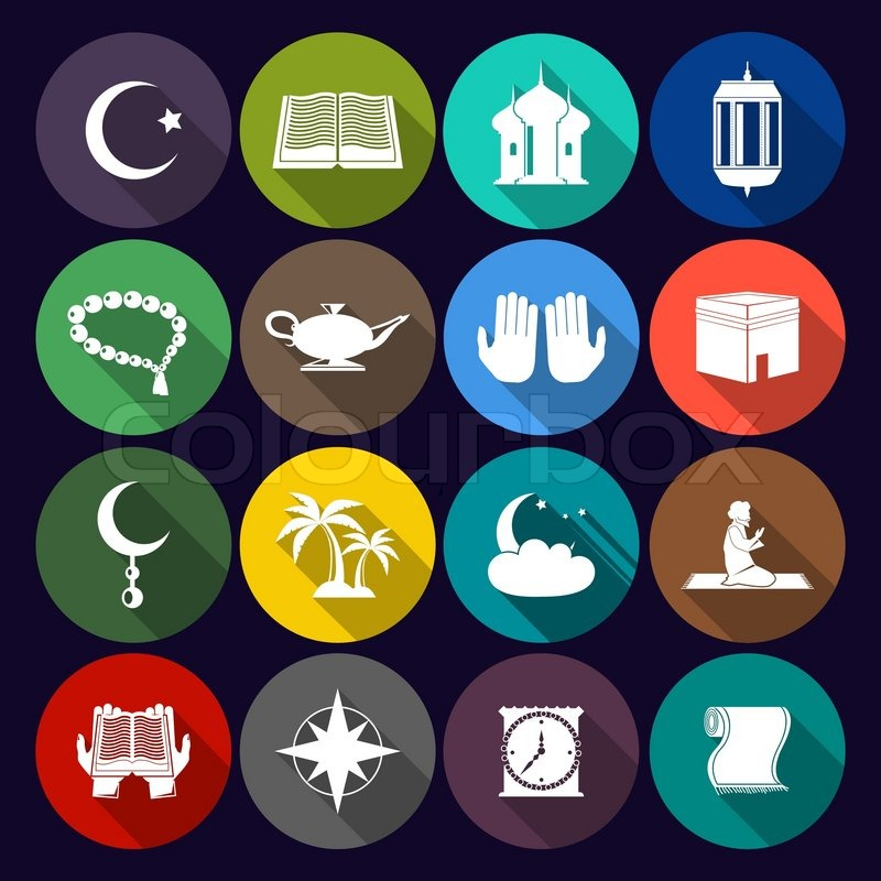 Islamic Church Muslim Arabic Spiritual Traditional Symbols Flat