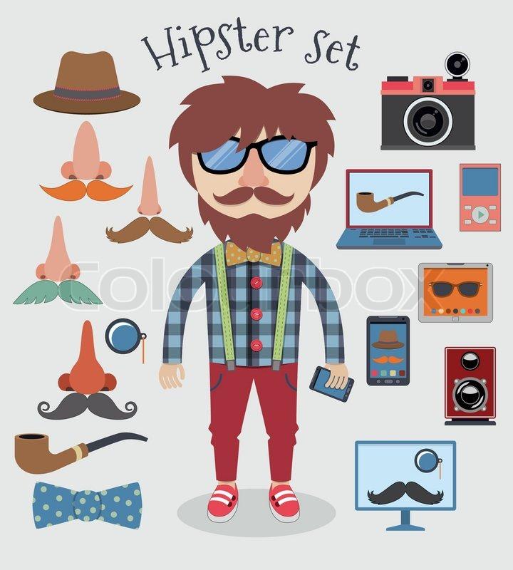 Hipster Design Elements Hipster Character Pack Design