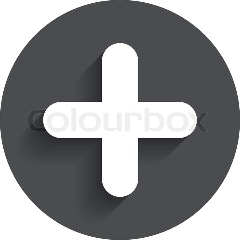 Plus Sign Icon Positive Symbol Zoom In Circle Flat Button With