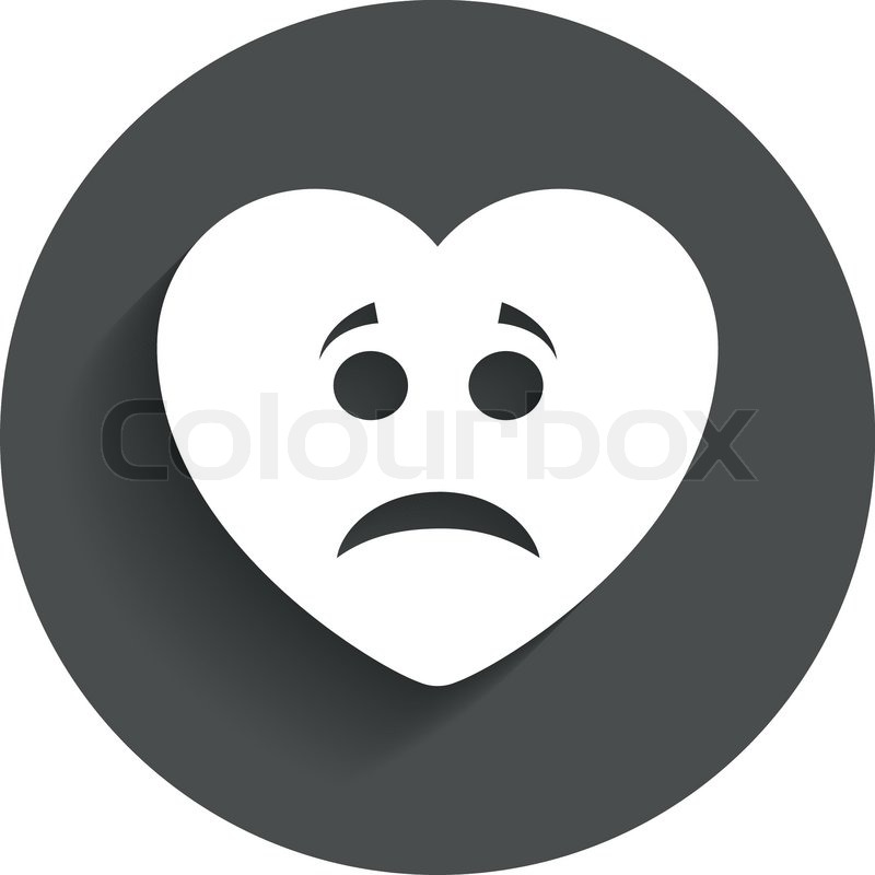 Sad heart face sign icon. Sadness depression chat symbol ...