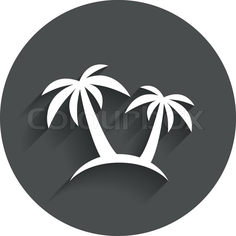 Palm Tree Sign Icon Travel Trip Symbol Circle Flat Button With