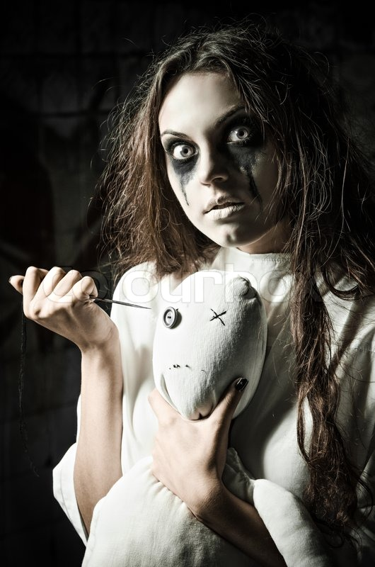 Horror Style Shot A Scary Monster Girl With Moppet Doll