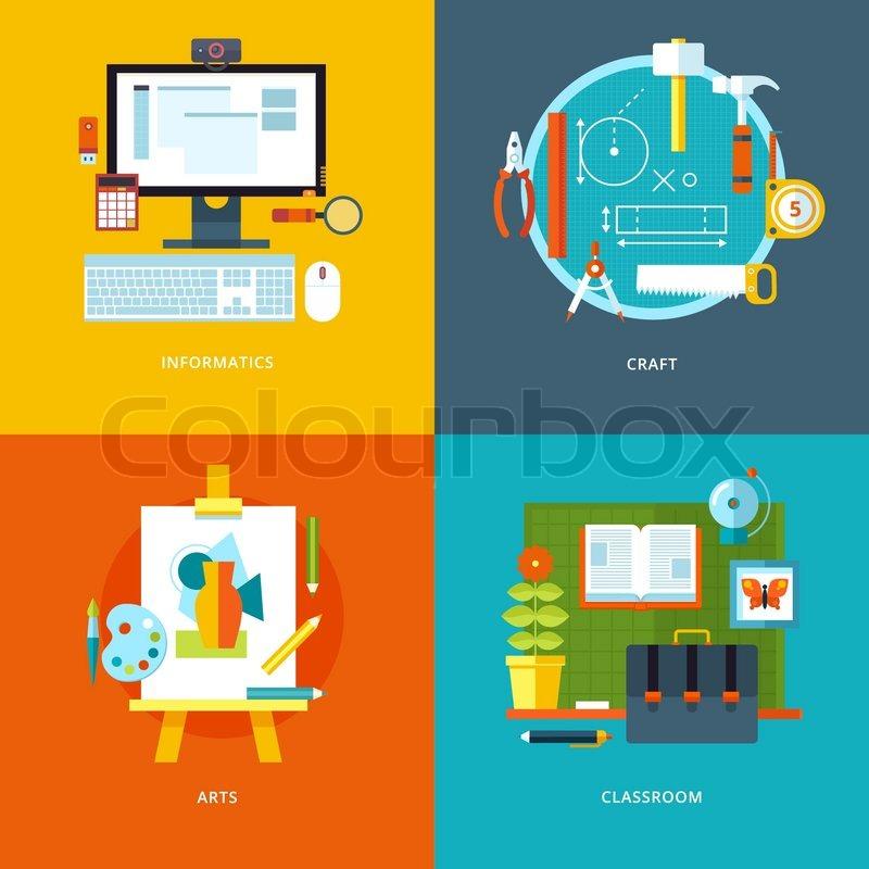Vektor icons f r schule und bildung set f r webdesign und for Stuhl design unterricht