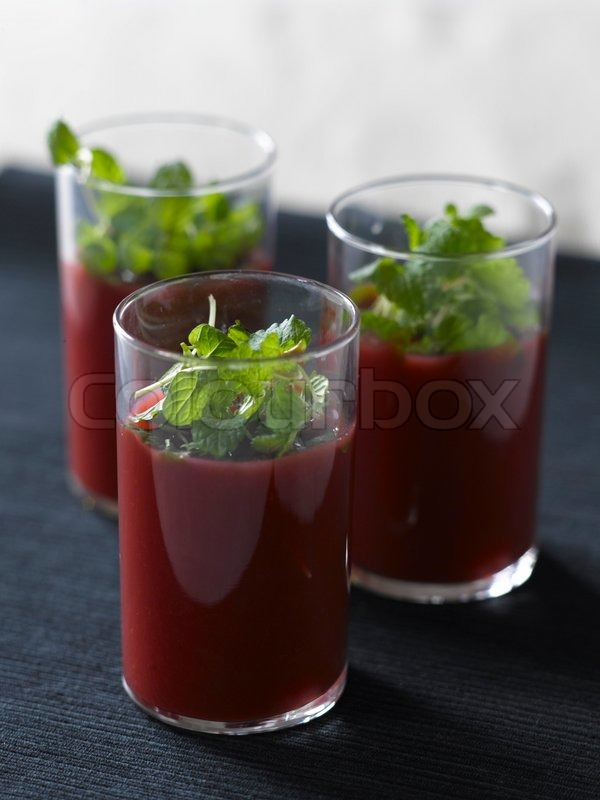Beetroot soup in glasses | Stock Photo | Colourbox