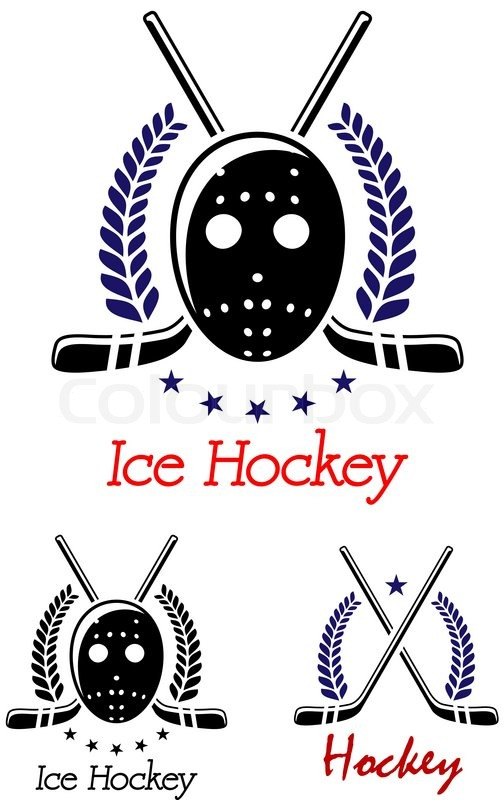 Ice Hockey Symbols Set With Puck Goalkeeper Mask Laurel Wreaths